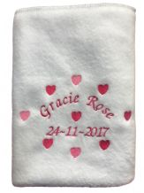 PERSONALISED BABY BLANKET PRETTY HEART DESIGN